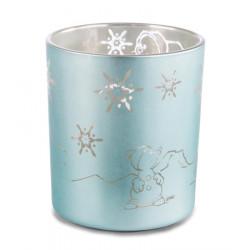 Blaues Kerzenglas mit Eisbär, Pinguin, Robbe & Schneemann